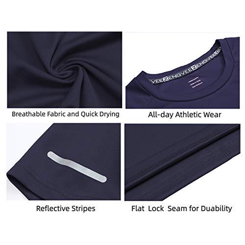 HUAKANG 3 Piezas Manga Corta Camiseta Hombre de Camiseta Hombrede Secado Rápido Ropa Deportiva Hombre para Correr(Black Grey Navy-XL)