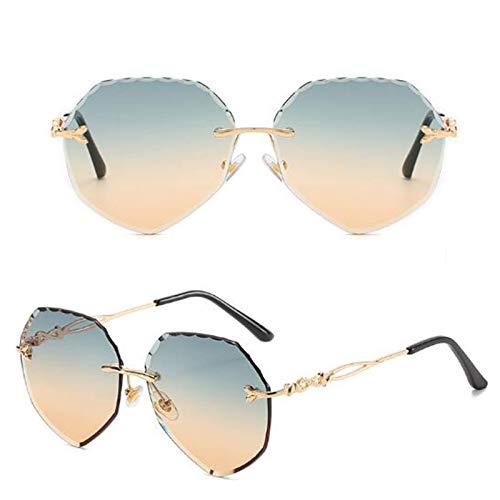 NNAA Gafas de sol Gafas de sol Gafas sin montura Moda de corte irregular Película oceánica irregular Gafas de sol para mujer Todo fósforo