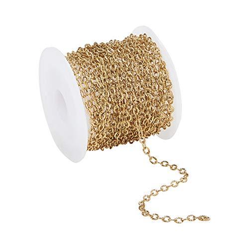 Stiesy Cadenas de cable de acero inoxidable 304 con textura de acero inoxidable 304 con bobina de moleteado chapado en oro cadena de eslabones para hacer collares - 3,5 x 2,5 x 0,4 mm