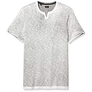 Men's Short Sleeve Knit, Split Neck Slub Jersey