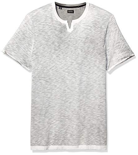 Men's Short Sleeve Knit, Split Neck Slub Jersey 3