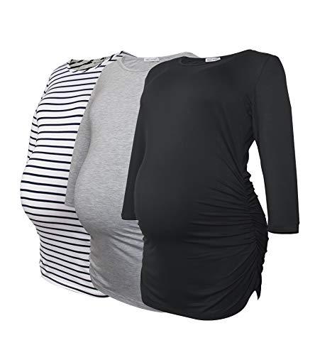 Smallshow Tops Maternidad para Mujeres con 3/4 de la Manga Fruncidos Ropa Embarazada Pack de 3,Black/Grey/White Stripe,S