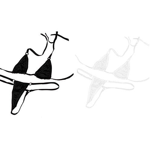 Hnjzx Micro-Bikini, ungefüttert, G-String, durchsichtig, sexy winzige String-Bikini-Sets, zweiteilig, Bade- und Strandmode für Damen Gr. S/XL, (2 Stück) schwarz + weiß
