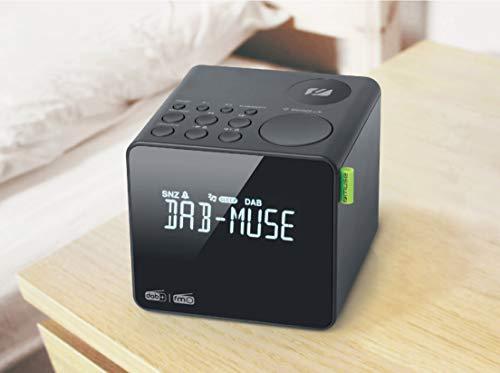 Radiowecker DAB+ FM PLL, Dual-Alarm, MUSE - (M-187 CDB) LCD-Display, Uhr, Wecker, Summer, Schlummerfunktion, Schlaffunktion, Antenne, AUX-IN, Backup-Batterie, dunkelgrau,
