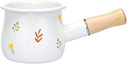 BGZC Mini enamel milk pot, non-stick pan stew, multi-function wooden pot ceramic cookware, very suitable for cooking baby ...