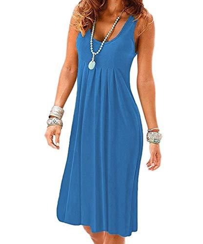 Sexy Summer Dress Women Sleeveless O-Neck Casual Solid Tank Dress Elegant...