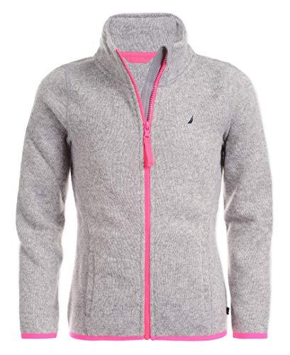 Nautica Girls' Big Fleece Full-Zip Jacket, Grey Heather, 12-14