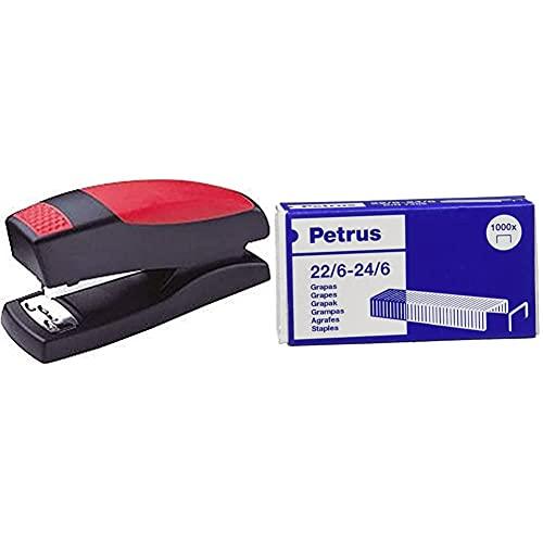 PETRUS 44813 Grapadora para hogar / oficina modelo 435 Golf color rojo + Grapas- Caja de 1000 grapas de 22/6 1 caja, 55723