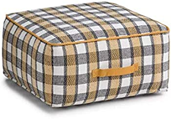 Wyndenhall Hyatt Patterned Plaid Cotton Square Pouf