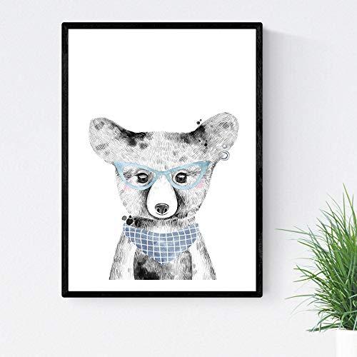 Baby beer baby laken met blauwe bril en bandana dieren infantiles Tamaño Poster A4 Unframed