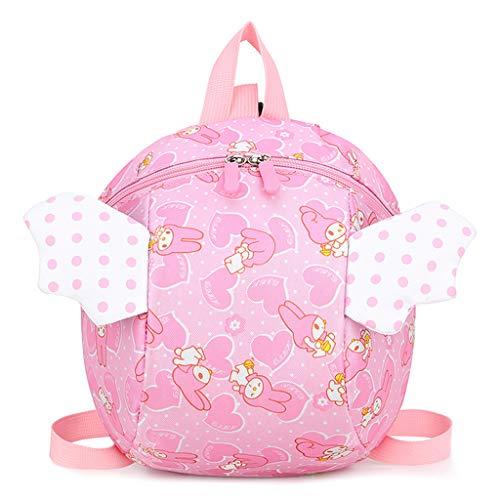 BASSK Sicherheitsgeschirr Rucksack Kinder Anti-Verlust, Cartoon Engel Flügel Schultasche für Baby Kinder Kleinkinder Gr. One Size, Pink