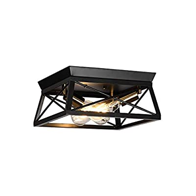 HUESLITE 3-Light Farmhouse Flush Mount Ceiling Light,Industrial Iron Ceiling Lighting Fixtures for Hallway, Entryway, Dining Room,Kitchen, Bedroom, Balcony Living Room (Black, 3-Light)