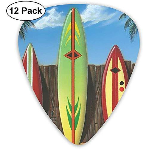 Sherly Yard Palm Beach Surfbrett Plektren 12er Pack - 3 verschiedene Größen inklusive dünn, mittel und schwer