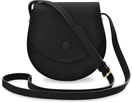Monnari halbrunde Damentasche Schultertasche Handtasche Markentasche Nubuk Optik schwarz