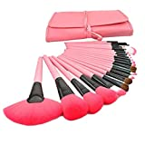 Profesional 24 pcs Pinceles Set Cepillo de Maquillaje/Brush Cosmética Belleza & Make-up Mango Make Up Brush Pincel Cosmética,Rosado,24 Piezas