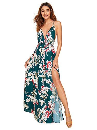SheIn Women's Sexy Satin Deep V Neck Backless Maxi Party Evening Dress X-Small Green-Floral