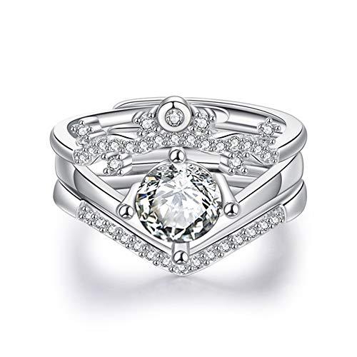 YUN Clock Compromiso Boda Juego De Anillos para Mujeres, 3 En 1 Diamante De Imitación Elegante Anillo con Joyero