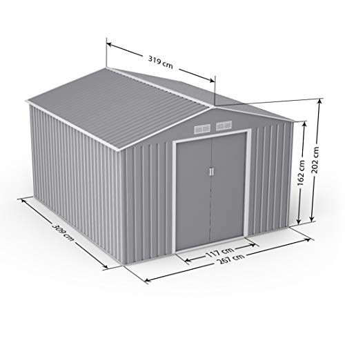 BillyOh Ranger Apex Metal Shed with Foundation Kit | Metal Garden Storage | 9x10 Garden Shed - Light Grey
