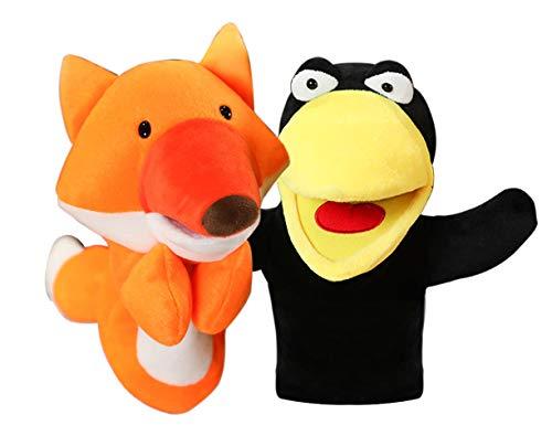 Juguete de Marionetas de Mano de Animales con Peluche de Boca Abierta Extraíble, Adecuado para Niños, Teatro de Marionetas para los Niños,Enseñanza, Preescolar, Juegos de Roles (Zorro y Cuervo)