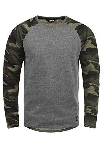 !Solid Cooper Herren Sweatshirt Pullover Pulli Baseball-Sweatshirt Mit Rundhals Und Camouflage-Ärmeln Aus 100% Baumwolle, Größe:L, Farbe:Grey Melange (8236)