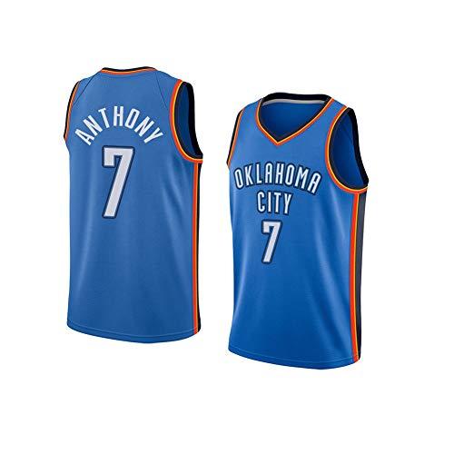 Basketball Trikot Carmelo Anthony # 7 Oklahoma City Thunder, Sommertrainingsanzug für Herren, Stickerei schnell trocknendes ärmelloses Unisex-T-Shirt Kann wiederholt gereinigt werden-blueA-2XL(190~2