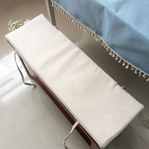 Non-Slip Bench Cushion with Tie,Soft Lounger Chair Cushion Bench Swing Cushions,2 Seater Large Garden Seat Cushion Pad (White,120x35cm)