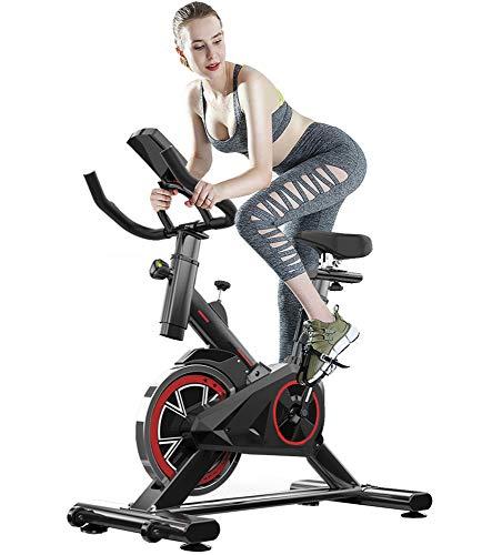 ZJMWQ Bicicletas Estaticas Mudo Bicicleta Estatica con Monitor De Frecuencia CardíAca, Pantalla LCD, Sensores De Pulso, Cojinete De Carga 150KG Bicileta Spinning Bici Indoor Air Bike Ciclo Indoor
