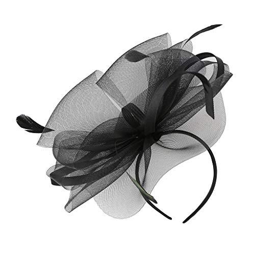 KUDICO Kopfschmuck für Damen Fascinators Hut Mesh Blumen Hochzeit Stirnband Cocktail Tee Party Accessoires Kostüm Elegant Retro Haarband(Schwarz, One size)
