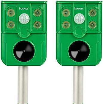 2-Pack Diaotec Solar Animal Repeller Outdoor Motion Detector