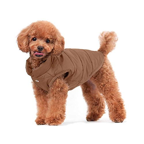 Rantow Gepolsterte warme Winter Hund Mantel Jacken Winddicht gemütlich Haustier Hund Kleidung Outfit Weste Anzug für Small Medium Large Hunde, rot/dunkelblau/braun (XS, Brown)