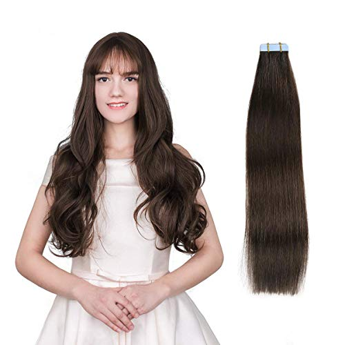 SUYYA Tape in Hair Extensions Human Hair 100% Remy Human Hair 20pcs 50g/pack Straight Seamless Skin Weft Glue in Hair Extensions(20Inch Color 2 Darkest Brown)