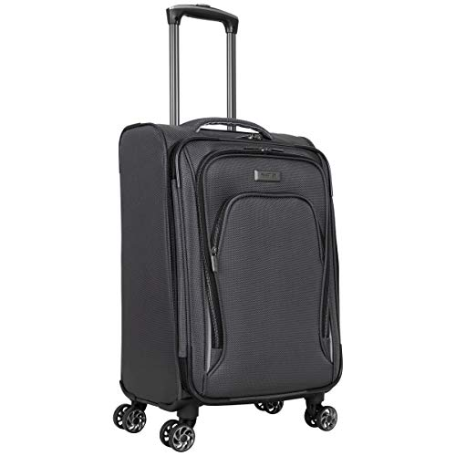 """Kenneth Cole Reaction Cloud City 20"""" Lightweight Softside Expandable 8-Wheel Spinner Carry-On Travel Suitcase, Charcoal, inch"""