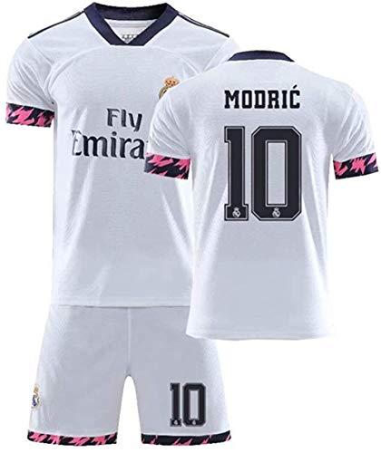 NNY Männer Jungen 2020 Real Madrid # 10 Luka Modric Fans Fußball Trikot Set-Weiß_XL