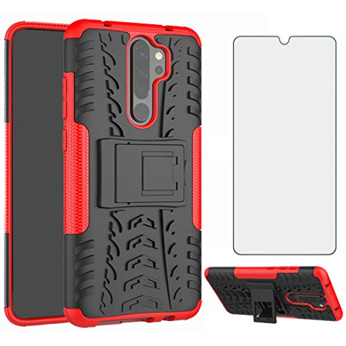 Phone Case for Xiaomi Redmi Note 8 Pro with Tempered Glass Screen Protector Cover Flim and Stand Kickstand Slim Hard Rugged Hybrid Cell Accessories Xiami Xiomis Xiome Redme Note8 8pro Cases Black Red