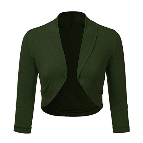 iYBUIA Women Plus Size Three Quarter Sleeve Solid Bolero Shrug Open Front Cropped Mini Office Work Cardigan(Green,XXXL)