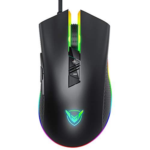 Holife Gaming Maus Wired RGB, einstellbare 10000 DPI, 8 programmierbare Taste( Feuer Knopf), komforte Griff Gamer Maus und Ergonomischer optischer gaming Mouse,für Laptop|PC|Computer maus, Schwarz
