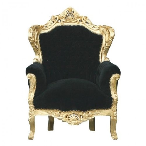 Casa Padrino Barock Sessel \'King\' Schwarz/Gold