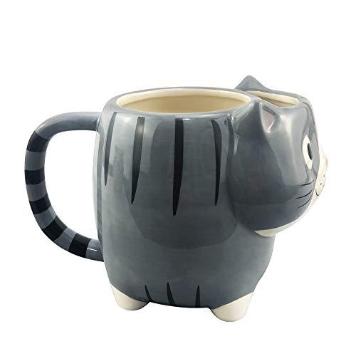 UMI. Essentials 480ml Trinkbecher Tasse aus Keramik mit 3D Katze, lusitge Tasse