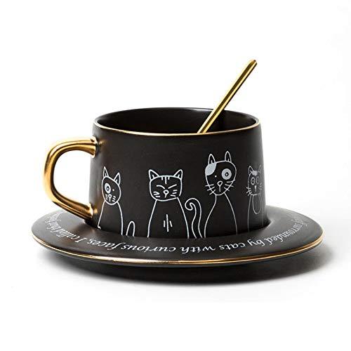 Espresso Cup Set Los amantes del gato taza de la taza de café divertida de la novedad de la taza de cerámica for té o chocolate caliente 8.5 Oz con regalos felina dibujos animados de cumpleaños perfec