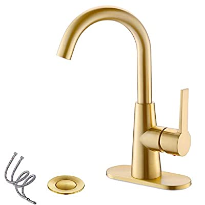 Brushed Gold Single-Handle 4 Inch Centrest Bathroom Sink Faucet with Deck Plate and Supply Hoses, Bar Sink Faucet/Pre-Kitchen Sink Faucet with 360° Rotation Spout by Phiestina, WE10-BG