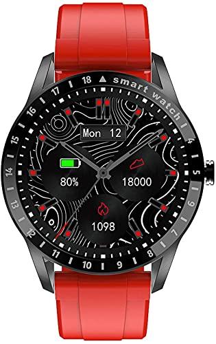 hwbq Reloj Inteligente Salud Fitness Tracker IP68 Impermeable Reloj Inteligente Monitoreo del Sueño Podómetro Reloj Inteligente Señoras Hombres-Rojo w