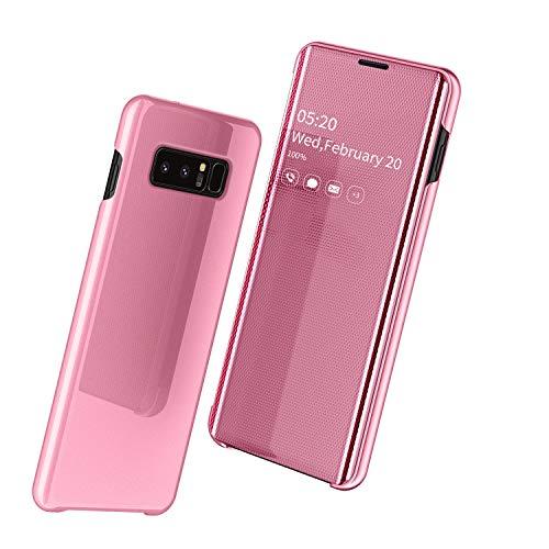 ケース Galaxy Note8,手帳型 第四世代ミラー 面白い PUレザー 携帯ケース、キラキラ 財布型 全面保護 qi 充電 ワイヤレス充電 フリップ カード収納 人気 かわいい 鏡メッキフリップ 耐衝撃 衝撃吸収 カバー、おしゃれ 二層構造 スタンド