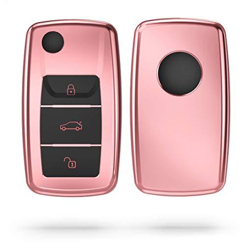 kwmobile Autoschlüssel Hülle kompatibel mit VW Skoda Seat 3-Tasten Autoschlüssel - TPU Schutzhülle Schlüsselhülle Cover in Hochglanz Rosegold