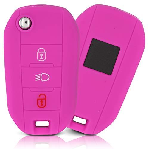Tapa de la Llave Hecha de Silicona Premium Compatible con Citroen, Funda Protectora para Llaves de Coche Cubierta para el Tipo de Clave 3BKB-b - Rosa
