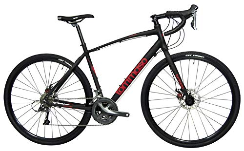 Tommaso Sentiero Shimano Claris Gravel Adventure Bike with Disc Brakes, Extra Wide Tires, Perfect for Road Or Dirt Trail Touring, Matte Black - Small