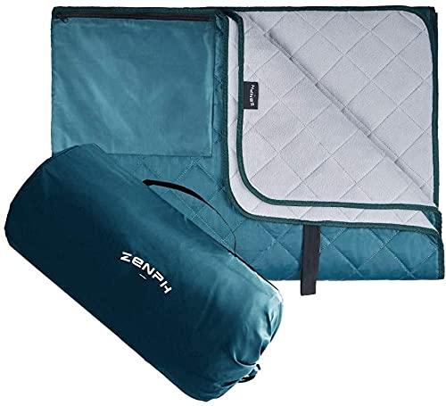 Zenph - Manta de acampada ligera, forro polar cálido, resistente al agua y al viento, con bolsa de transporte, para camping, senderismo, playa, picnic, al aire libre (140 x 200 cm)