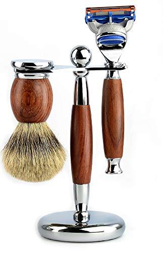 Cadre de rasoir pour étagère pour blaireau rasoir suspendu pour cadre de barbe-Dark brown