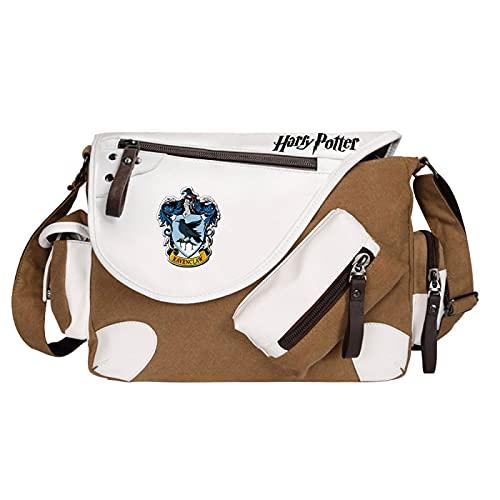 QLma Children's messenger bag Ravenclaw school bag light book bag casual messenger bag 35x26x11cm Brown