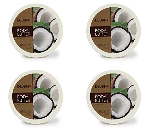 DELON Intense Moisturizing Body Butter, 6.9 Oz (4-Pack) (Coconut)