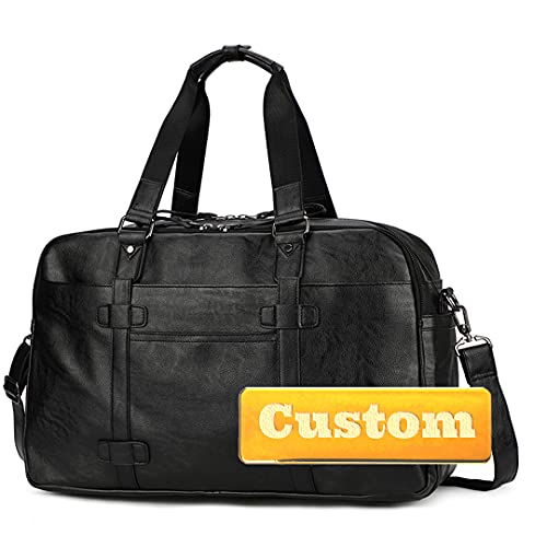 Nombre Personalizado Personalizado Viaje Plegable Duffel Equipaje Hombres Bolsa de Lona de Cuero para Viajar (Color : Black, Size : One Size)